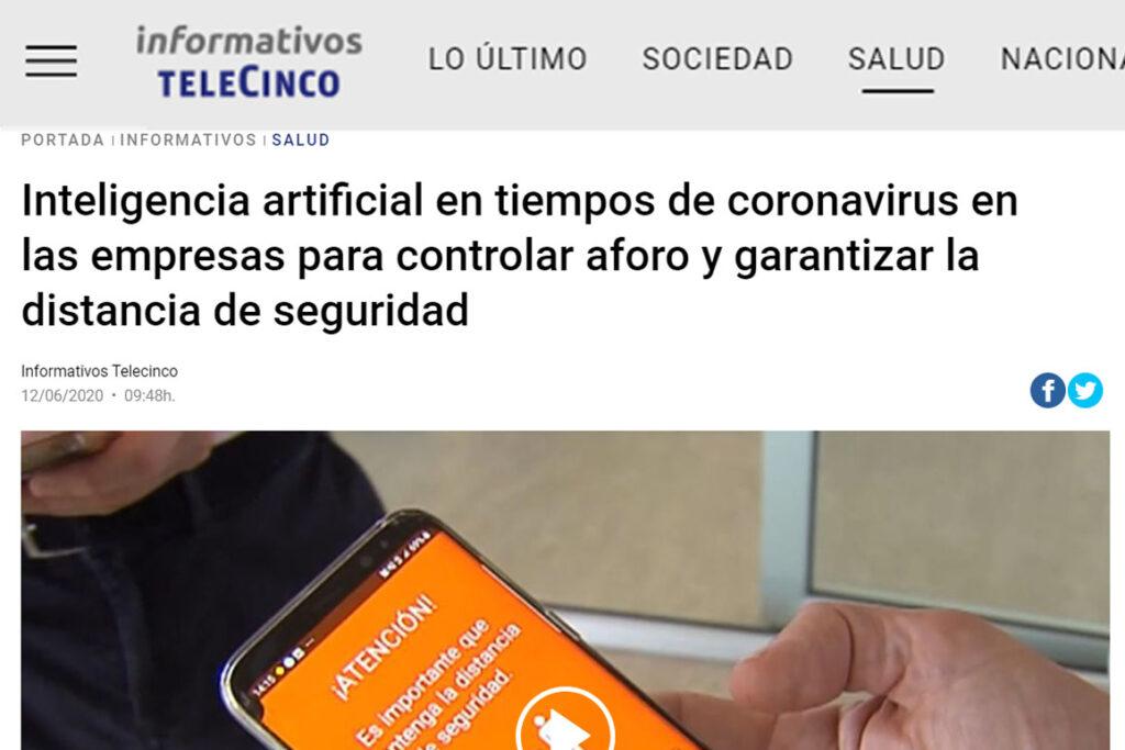 Noticia de informativos Telecinco sobre Situm Covid-19